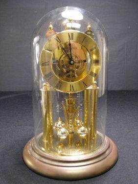 909: S. HALLER GERMAN ANNIVERSARY CLOCK w/ GLASS DOME