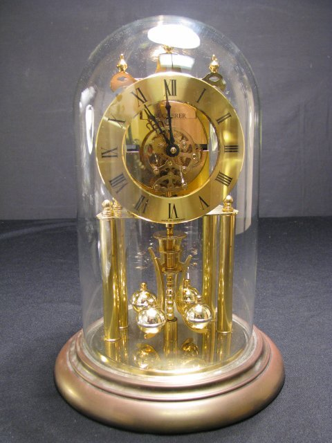 909: S. HALLER GERMAN ANNIVERSARY CLOCK w/ GLASS DOME