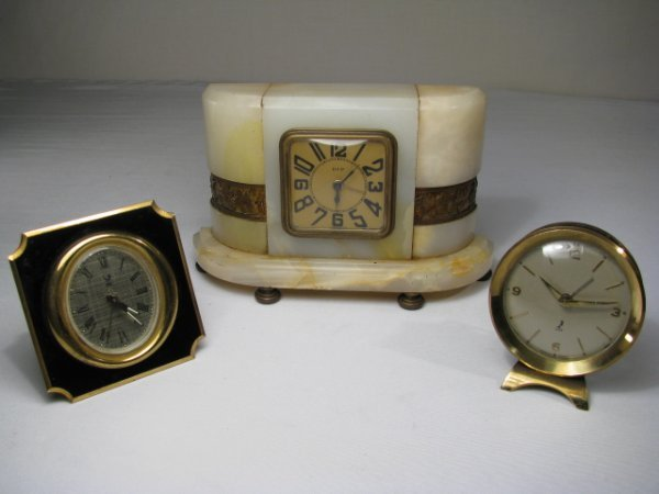 911: THREE FRENCH ALARM CLOCKS ART DECO DEP & JAZ