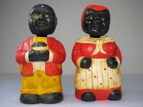 TWO BLACK AMERICANA NODDER HEAD BANKS