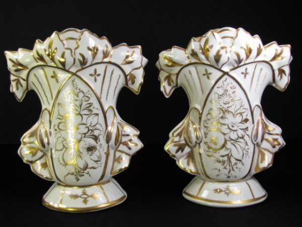 916: PAIR OLD PARIS TYPE PORCELAIN GOLD GILT VASES