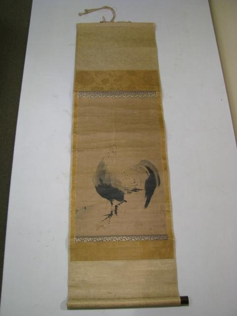 918: 18TH C CHINESE SCROLL: BRUSH PAINTING, ROOSTER