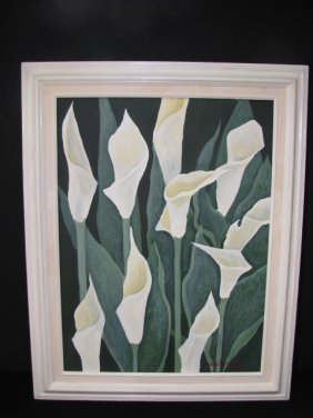 919: OIL ON CANVAS FLORAL PAINTING SIGNED DEBBIE LYNCH