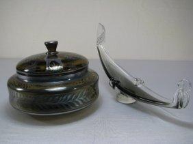 921: ITALIAN GLASS SILVER DEPOSIT COVERED JAR & GONDOLA