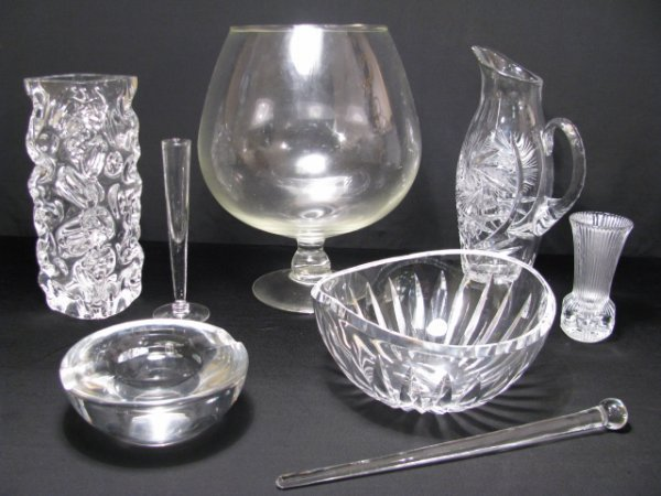 924: CRYSTAL & GLASS VASES PITCHER BOWL ETC 8 PCS