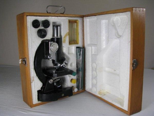 929: MONOLUX MICROSCOPE MODEL 1200X w/ LENSES