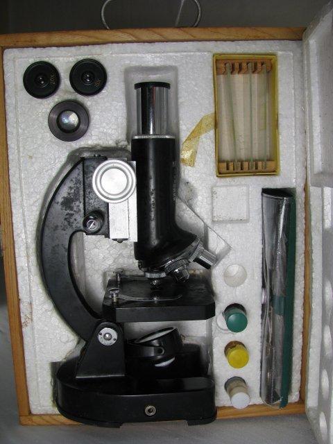 929: MONOLUX MICROSCOPE MODEL 1200X w/ LENSES - 2