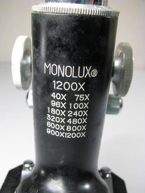 929: MONOLUX MICROSCOPE MODEL 1200X w/ LENSES - 7
