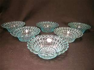 ANTIQUE THOUSAND EYE PATTERN GLASS SMALL BOWLS 6 P