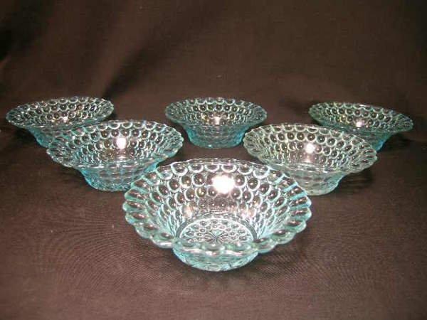 403: ANTIQUE THOUSAND EYE PATTERN GLASS SMALL BOWLS 6 P