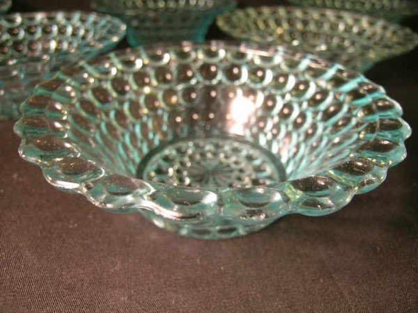 403: ANTIQUE THOUSAND EYE PATTERN GLASS SMALL BOWLS 6 P - 3