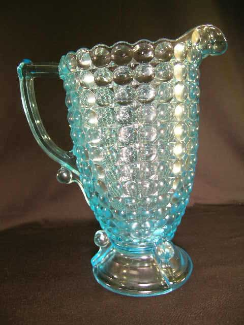 406: ANTIQUE THOUSAND EYE PATTERN GLASS WATER PITCHER