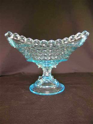ANTIQUE THOUSAND EYE GLASS FOOTED SQUARE TAZZA