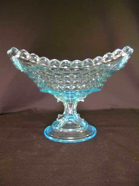 410: ANTIQUE THOUSAND EYE GLASS FOOTED SQUARE TAZZA