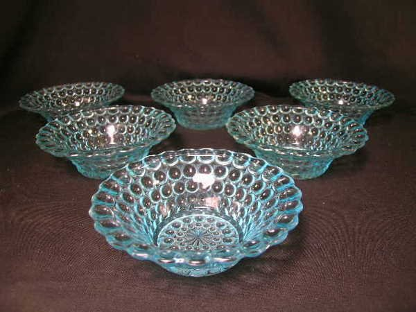 411: ANTIQUE THOUSAND EYE PATTERN GLASS SMALL BOWLS 6 P