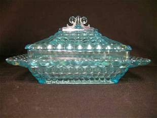 ANTIQUE THOUSAND EYE GLASS SQUARE CANDY DISH