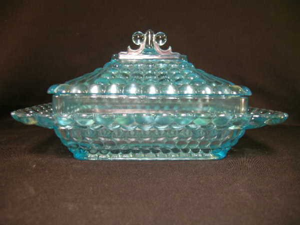 414: ANTIQUE THOUSAND EYE GLASS SQUARE CANDY DISH