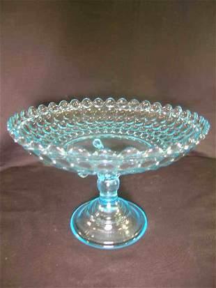 ANTIQUE THOUSAND EYE PATTERN GLASS ROUND TAZZA