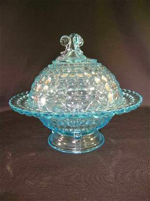 ANTIQUE THOUSAND EYE GLASS COVERED CANDY DISH