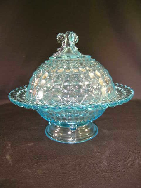 419: ANTIQUE THOUSAND EYE GLASS COVERED CANDY DISH