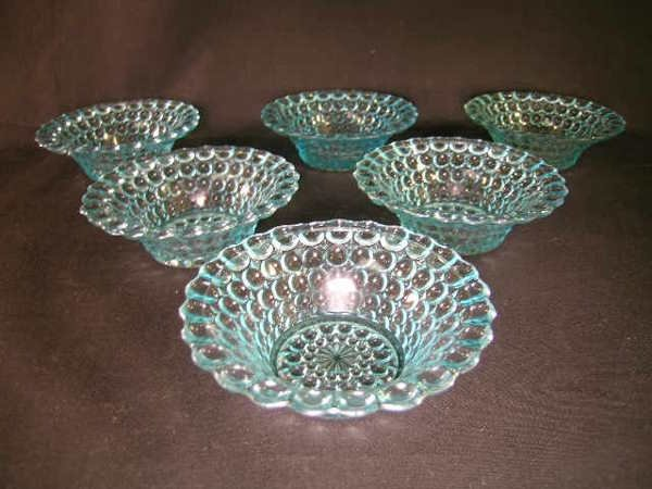 420: ANTIQUE THOUSAND EYE PATTERN GLASS SMALL BOWLS 6 P