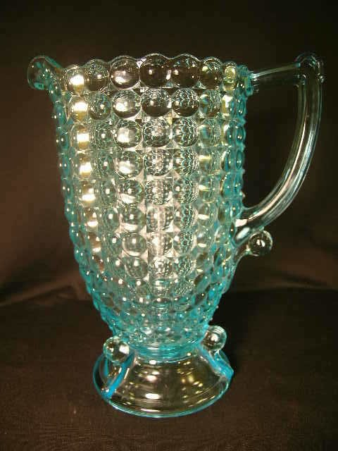 422: ANTIQUE THOUSAND EYE PATTERN GLASS WATER PITCHER