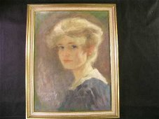 727: FRAMED OIL PAINTING WOMAN SIGNED L RUIGGARET 1908