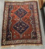 ANTIQUE PERSIAN SHIRAZ HAND KNOTTED WOOL RUG 4 X 5