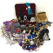 ASSORTED LADIES COSTUME JEWELRY STERLING ETC