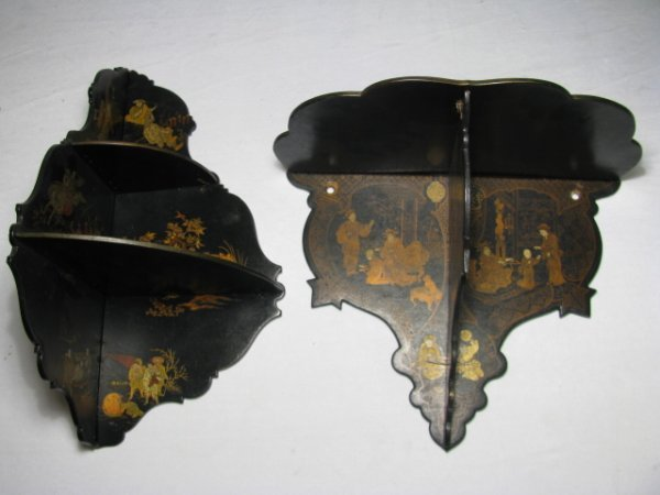 7: TWO 19TH C CHINOISERIE LACQUER WALL SHELVES
