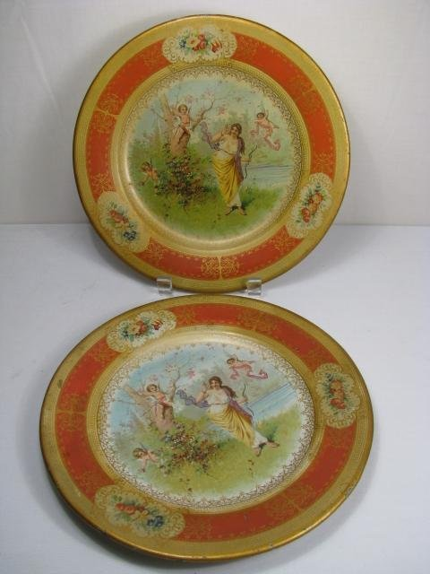 15: TWO  VIENNA TIN ART PLATES CIRCA 1905