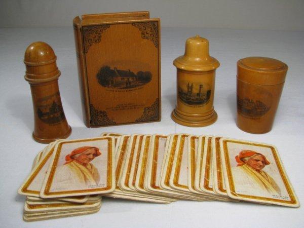 18: MAUCHLINE WARE NEEDLE CASE BOX PLAYING CARDS 4pcs