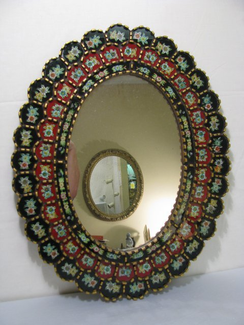 21: PERUVIAN OVAL MIRROR w FLORAL PAINTED GLASS PANELS