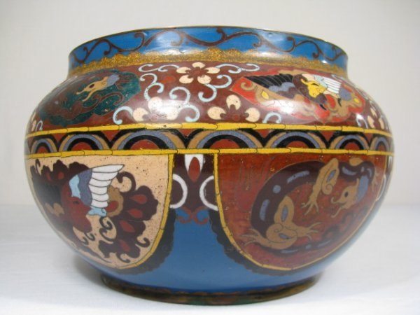 24: CHINESE CLOISONNE BOWL w DRAGONS 20TH CENTURY
