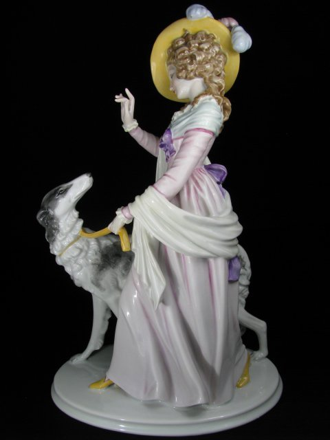 53: ROSENTHAL PORCELAIN FIGURAL GROUP WOMAN & WOLFHOUND