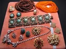 COSTUME JEWELRY: TRIFARI BOUCHER PINS NECKLACES