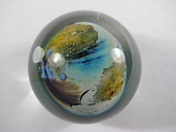 208: JOSH SIMPSON ART GLASS PLANET PAPERWEIGHT SIGNED - 5