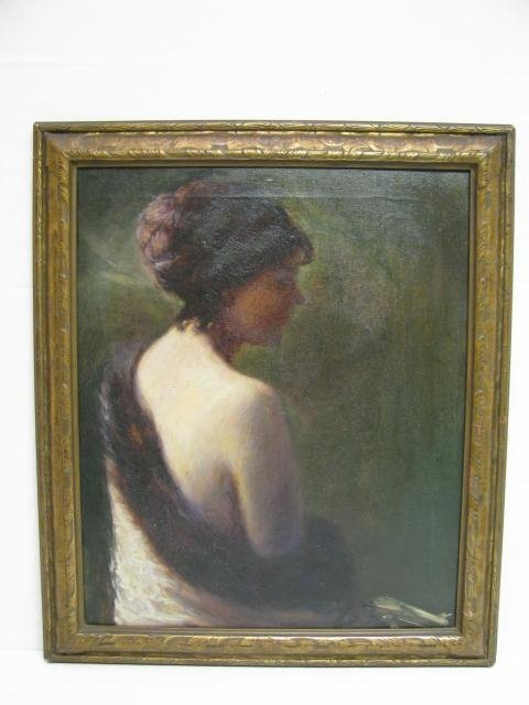 394: FINE OIL PAINTING PORTRAIT PARTIALLY NUDE WOMAN