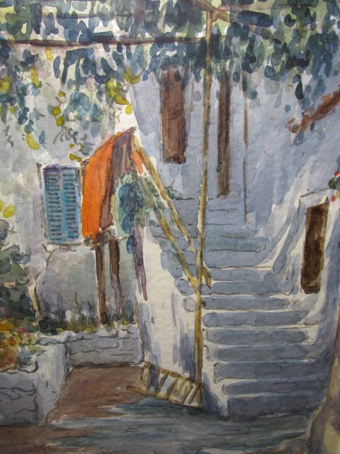14: WATERCOLOR PAINTING OF A PEASANT HOUSE IN GREECE