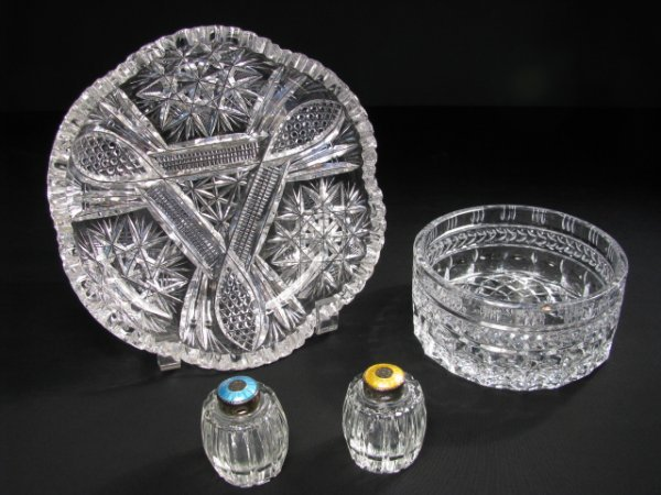 16: FOUR PCS CUT CRYSTAL BOWLS & ENAMELED SALT PEPPER