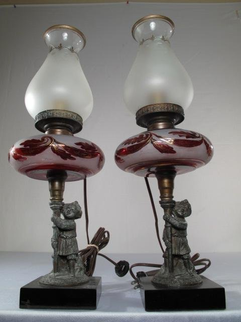 18: PR VINTAGE FROSTED CRANBERRY GLASS LAMPS