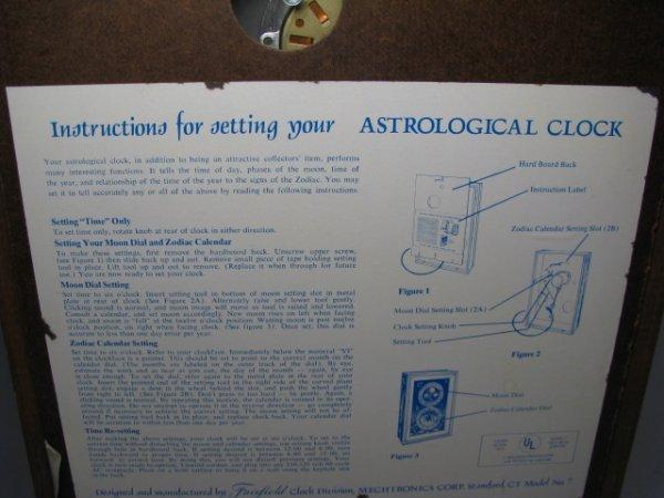 19: MID CENTURY ASTROLOGICAL CLOCK FAIRFIELD CLOCK - 10