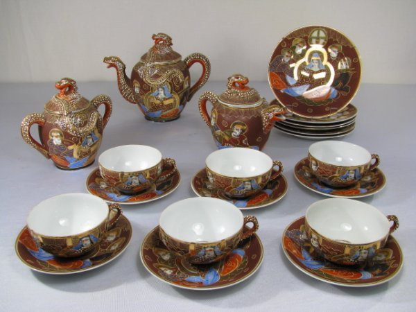 20: JAPANESE MORIAGE TEA SET WITH LITHOPHANE BOTTOM CUP