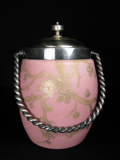 23: PINK CASED GLASS CRACKER BARREL GILT FLORAL DESIGN