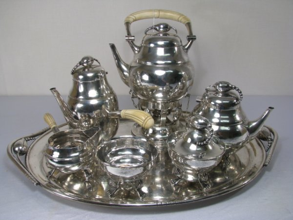 148: DEMATTEO 7 PC STERLING SILVER BLOSSOM TEA SET