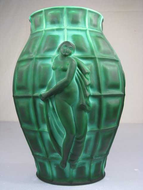 264 Desna Bohemian Malachite Glass Vase Female Nude