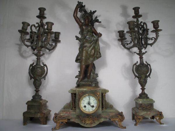 174: 174: H MOUREAU FRENCH 3pc  MANTEL CLOCK & GARNITUR
