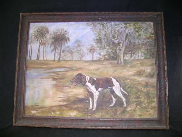 750: OLD OIL ON CANVAS PAINTING HUNTING DOG EVERGLADES