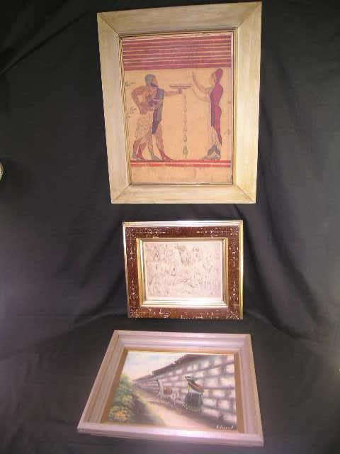 751: ART GROUP PAINTING PRINTS ANTIQUE FRAME 3 PCS