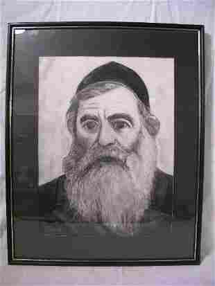 CHARCOLE SKETCH DRAWING RABBI SIGNED ALICE